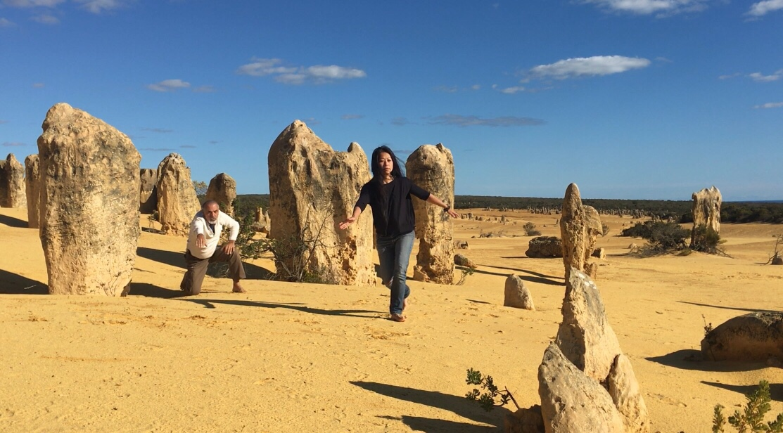 Pinnacles Desert, dancing our bare feet on the sun-kissed land among the magical rock formations