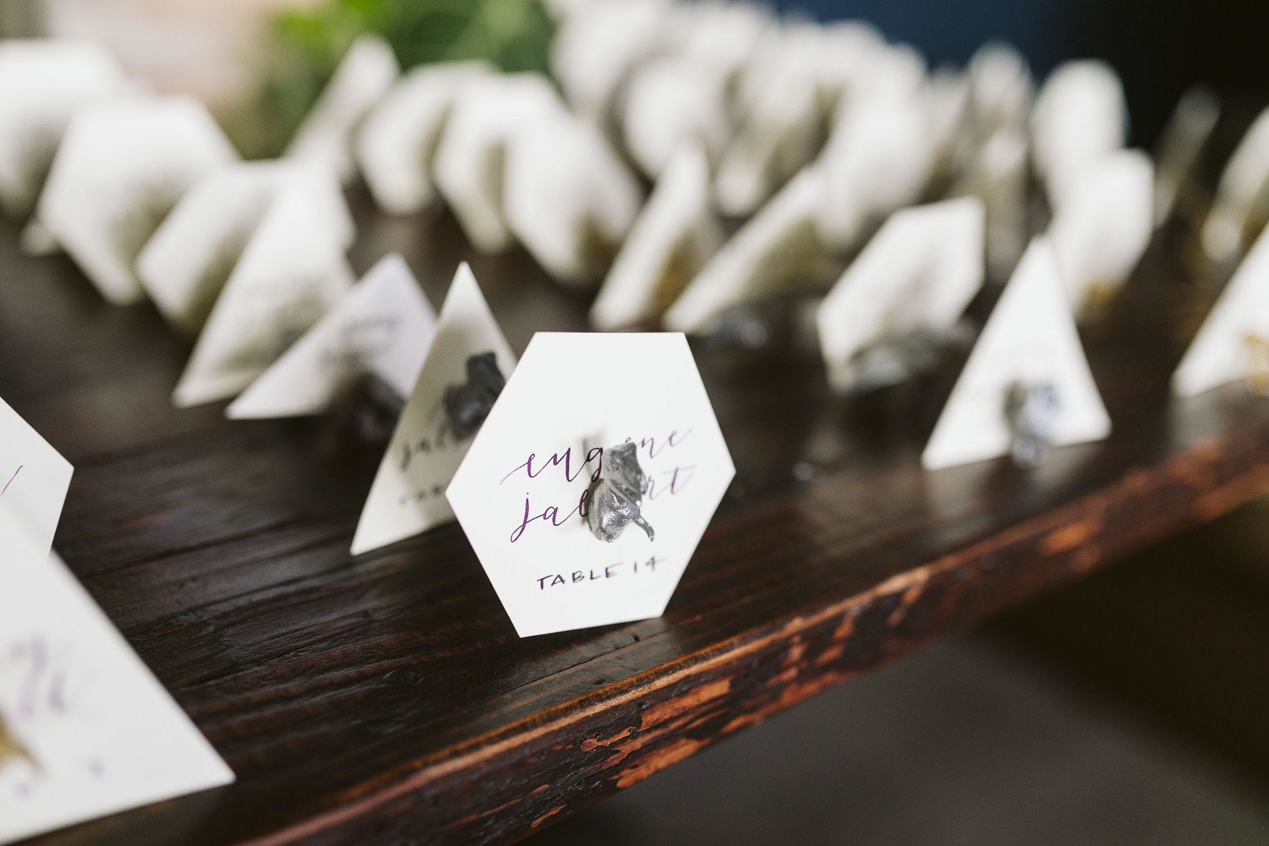 The reception details and unique table cards at this Battello Wedding in Jersey City, NJ