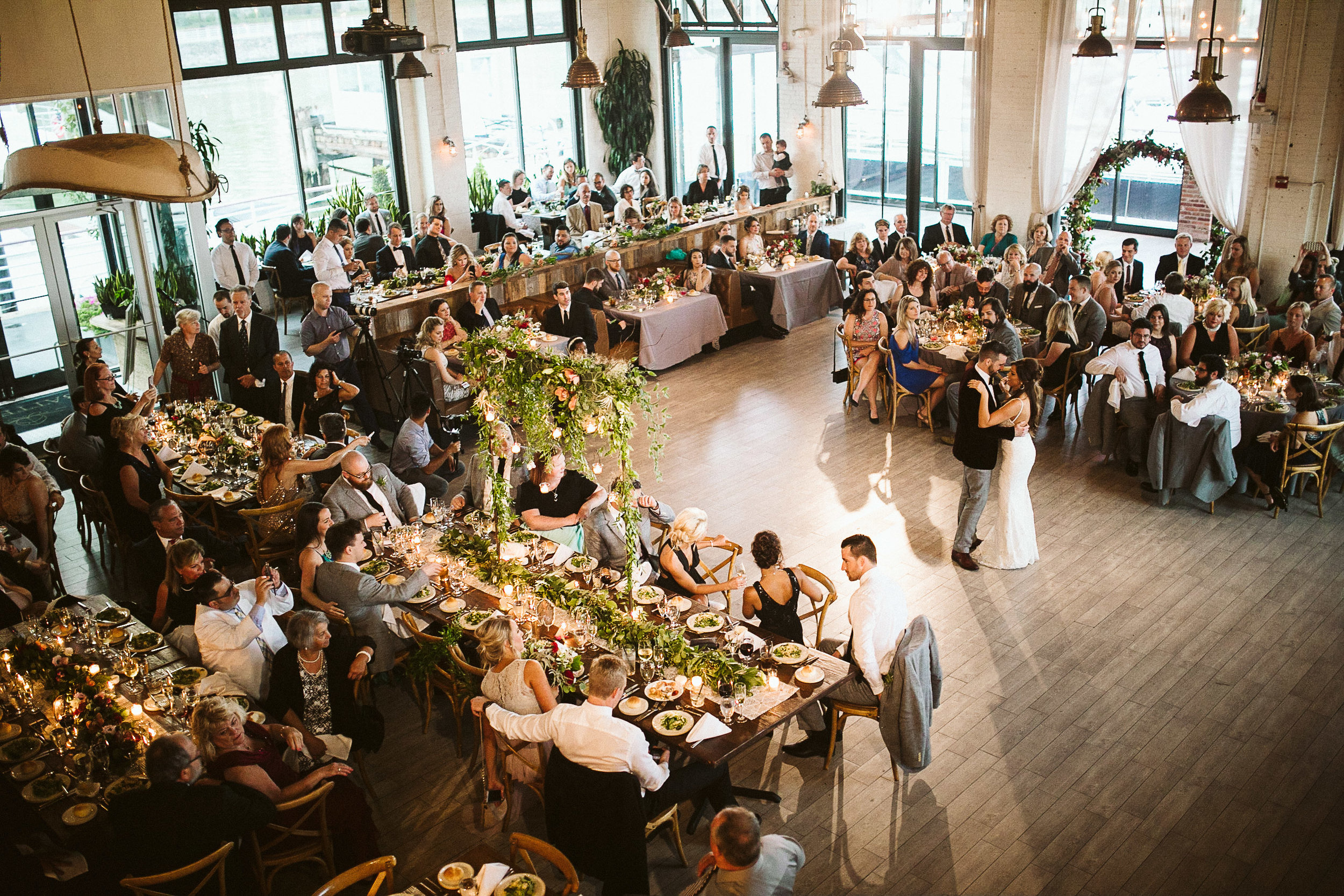 An overhead view of the reception and dance floor at this Battello Wedding in Jersey City, NJ