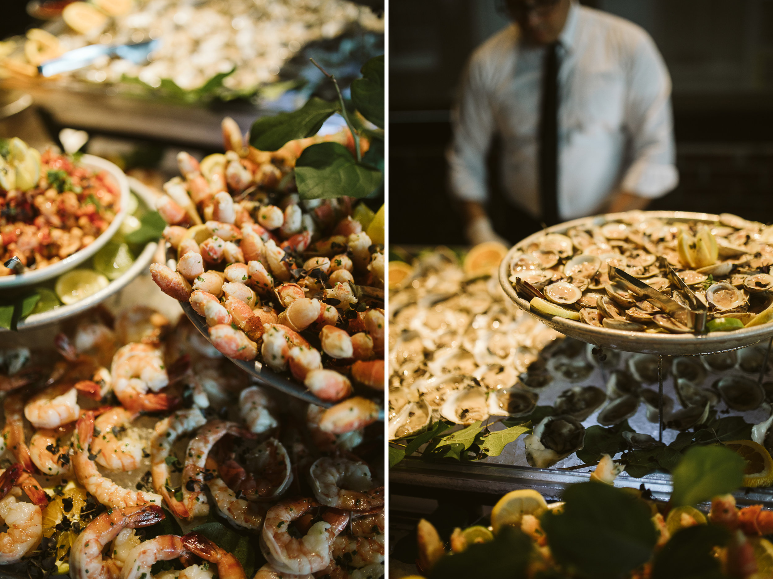 The reception seafood spread at this Battello Wedding in Jersey City, NJ