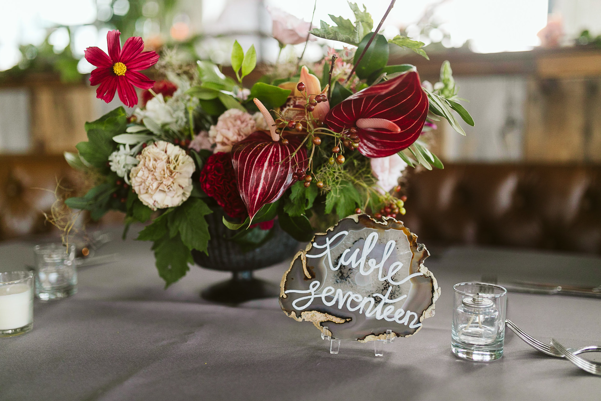 The reception details at this Battello Wedding in Jersey City, NJ