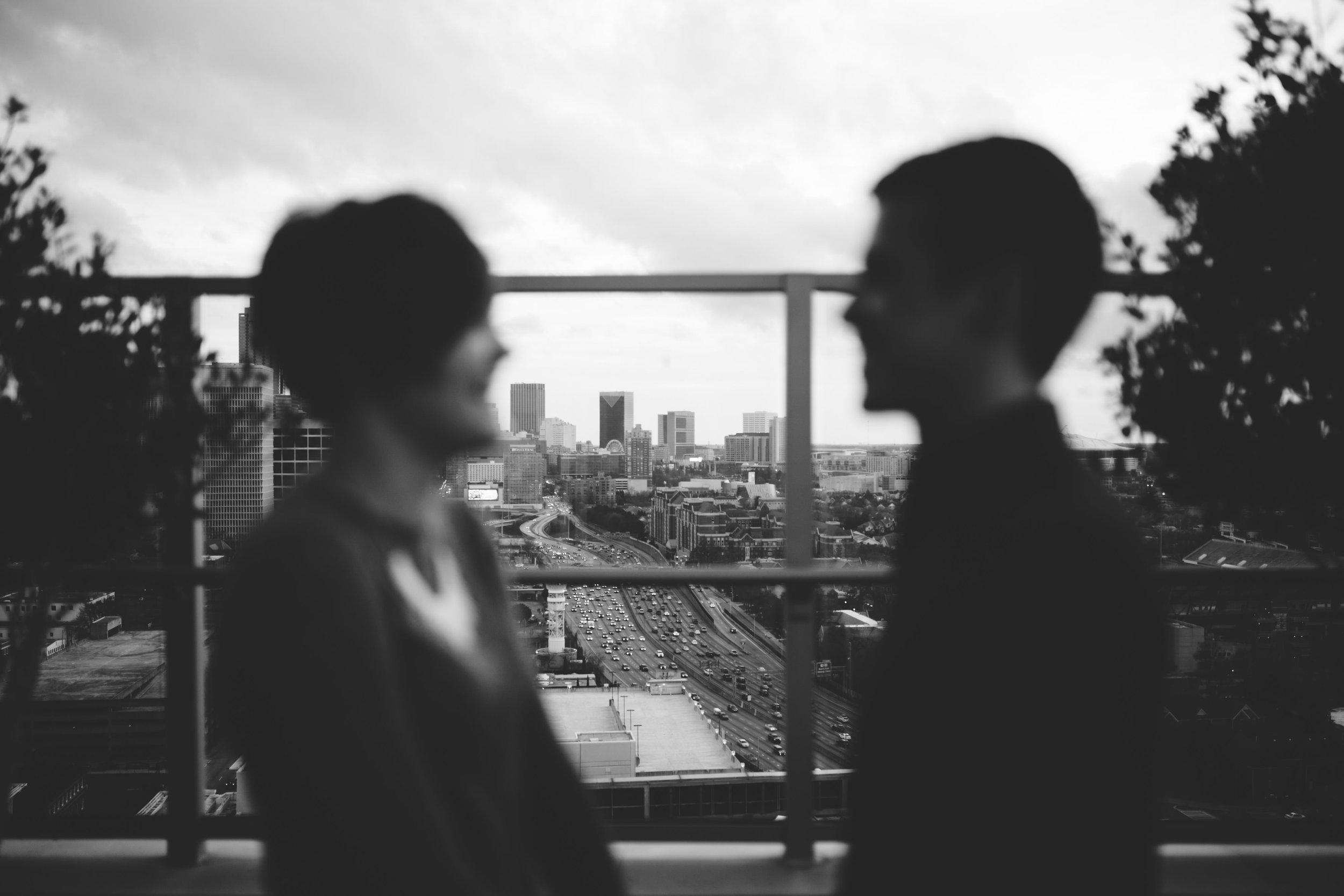 black and white silhouette atlanta background engagement photo