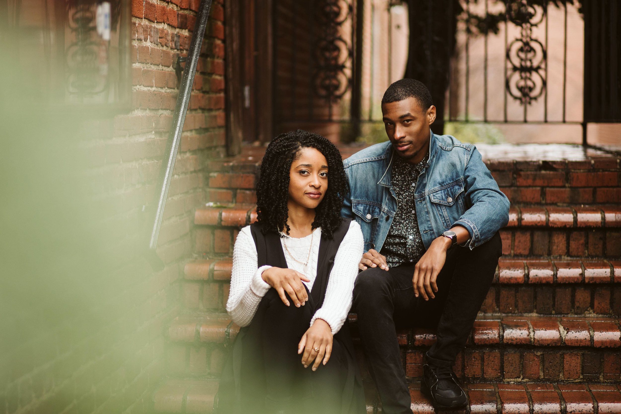 engagement photos with couple on brick stairs