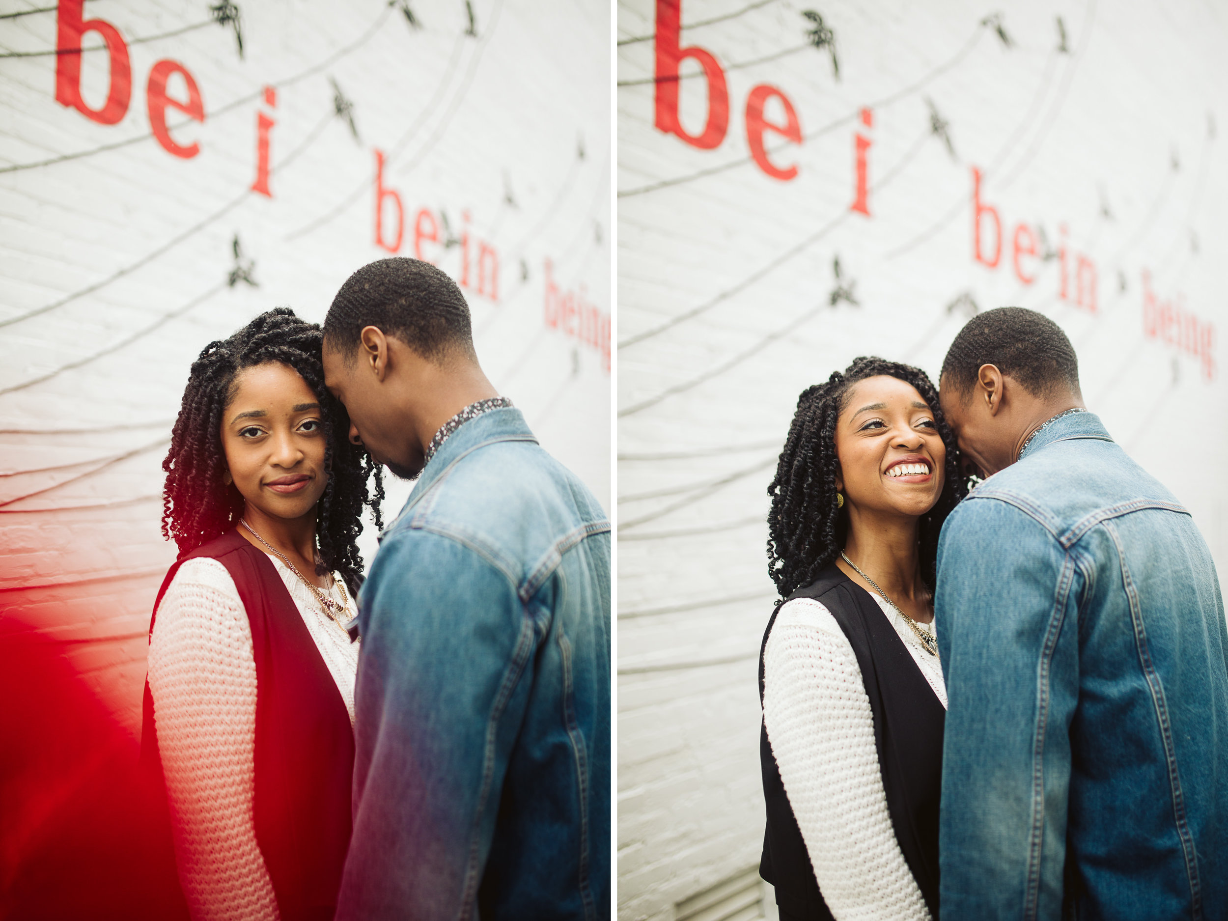 engagement photos with red writing