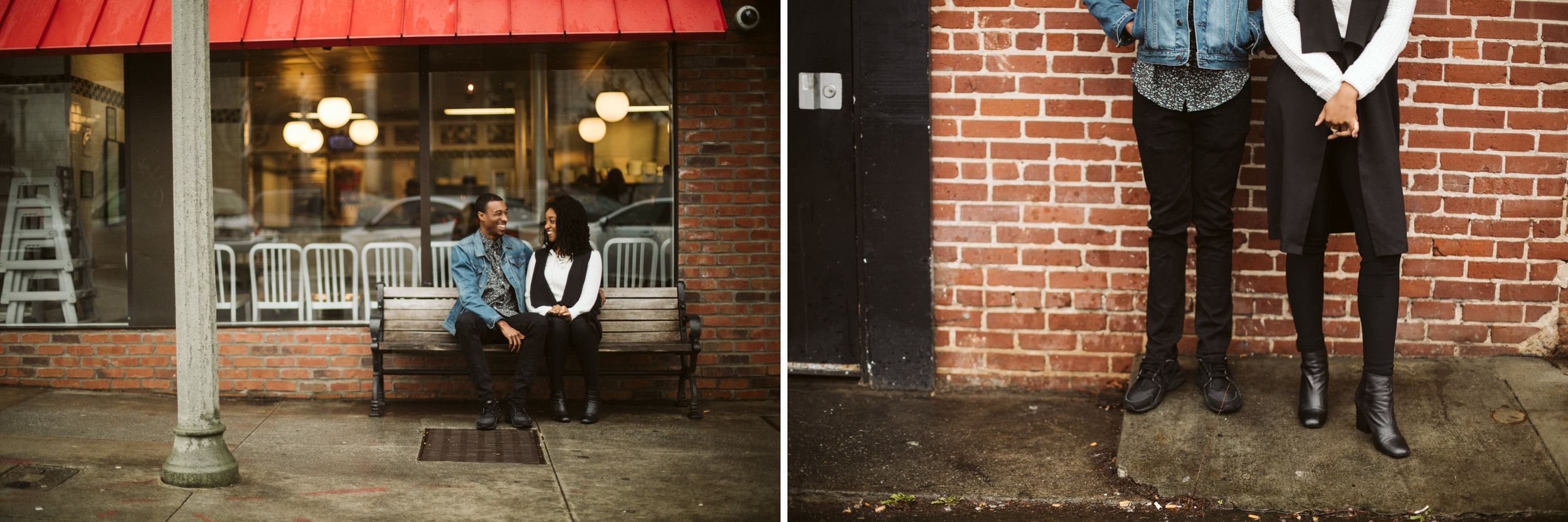 brick building and cafe for engagement photo location