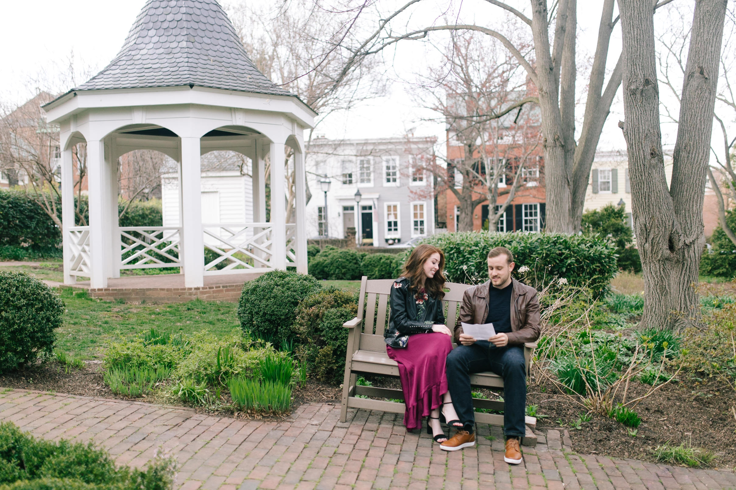 Couple in the park with a gazebo at this DC Area Engagement Shoot - Alexandria, VA
