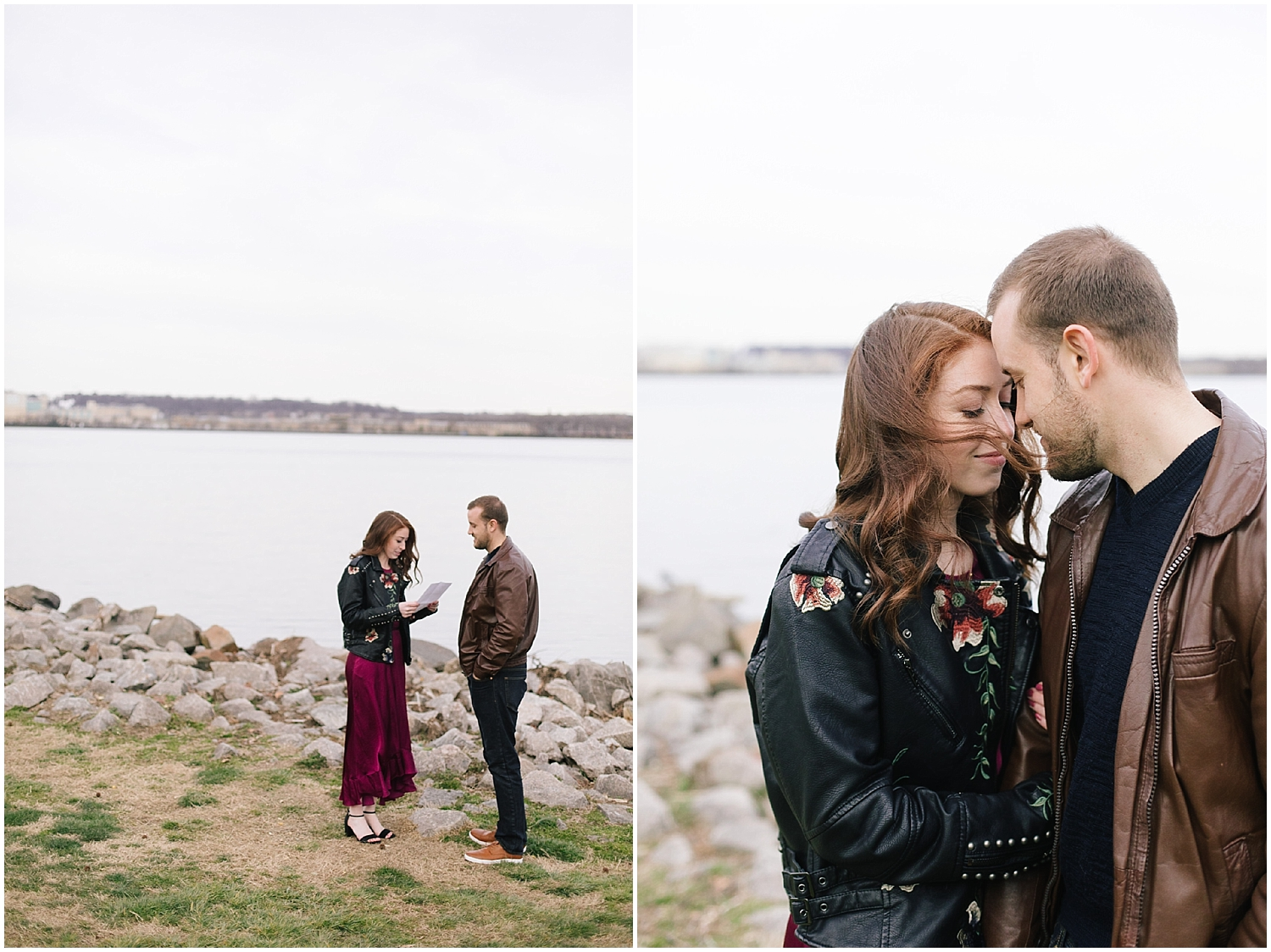 A leather jacket and maroon dress on the water's edge at this DC Area Engagement Shoot - Alexandria, VA