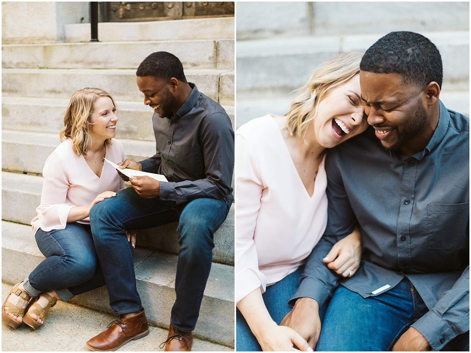 couple reading letters during engagement shoot