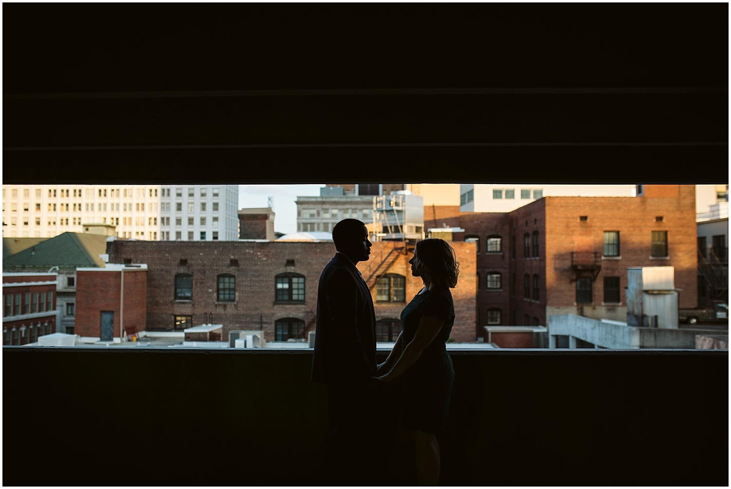 engaged couple in downtown atlanta