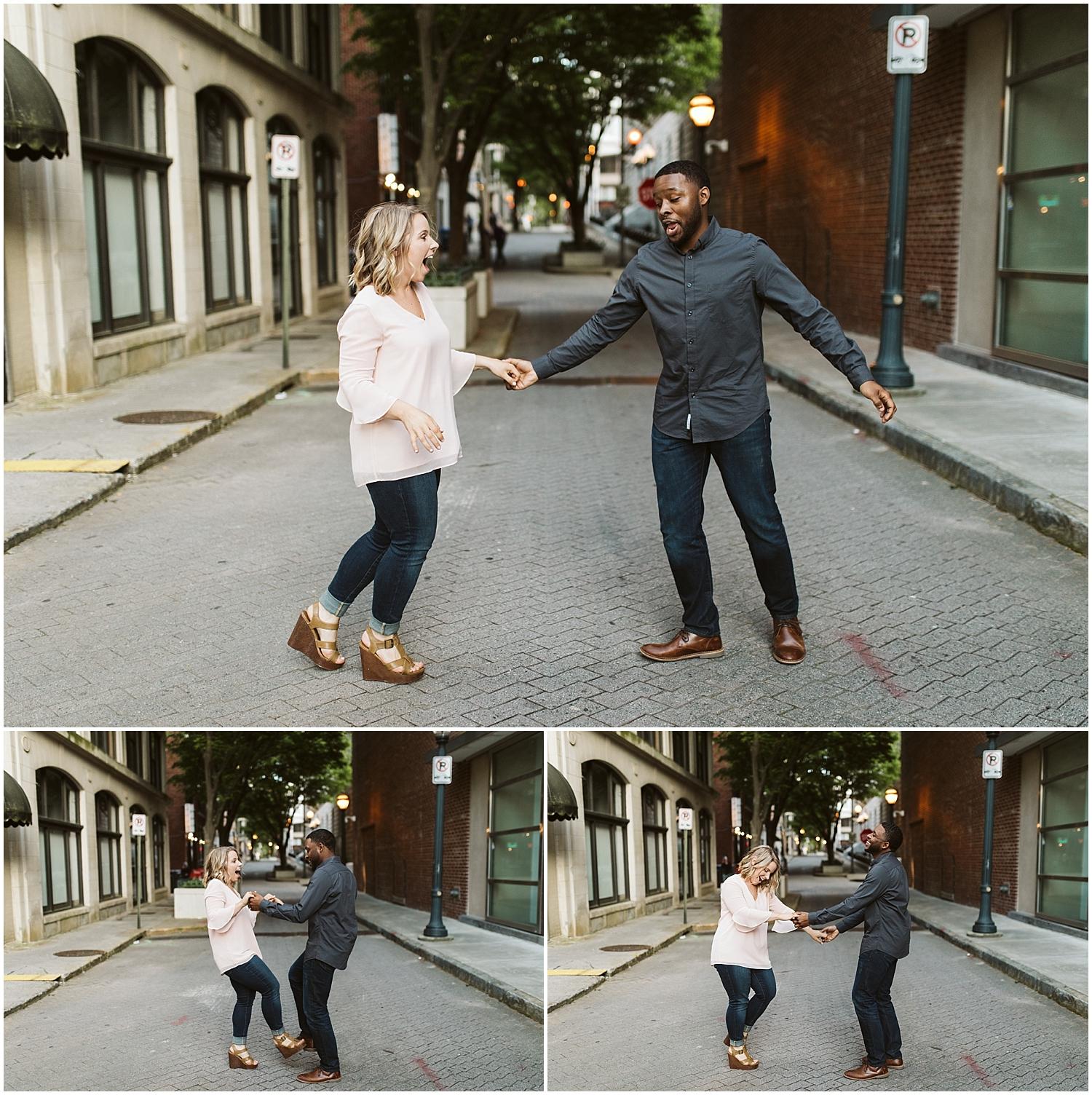 dancing engagement shoot