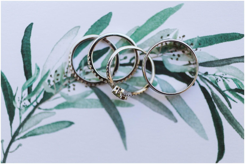 wedding rings on green invitation