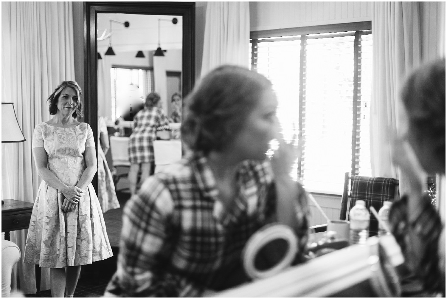 black and white bride getting ready for wedding day