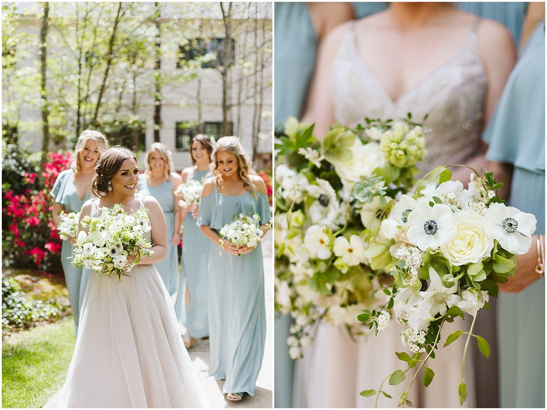 bride and bridesmaids walking at RT lodge