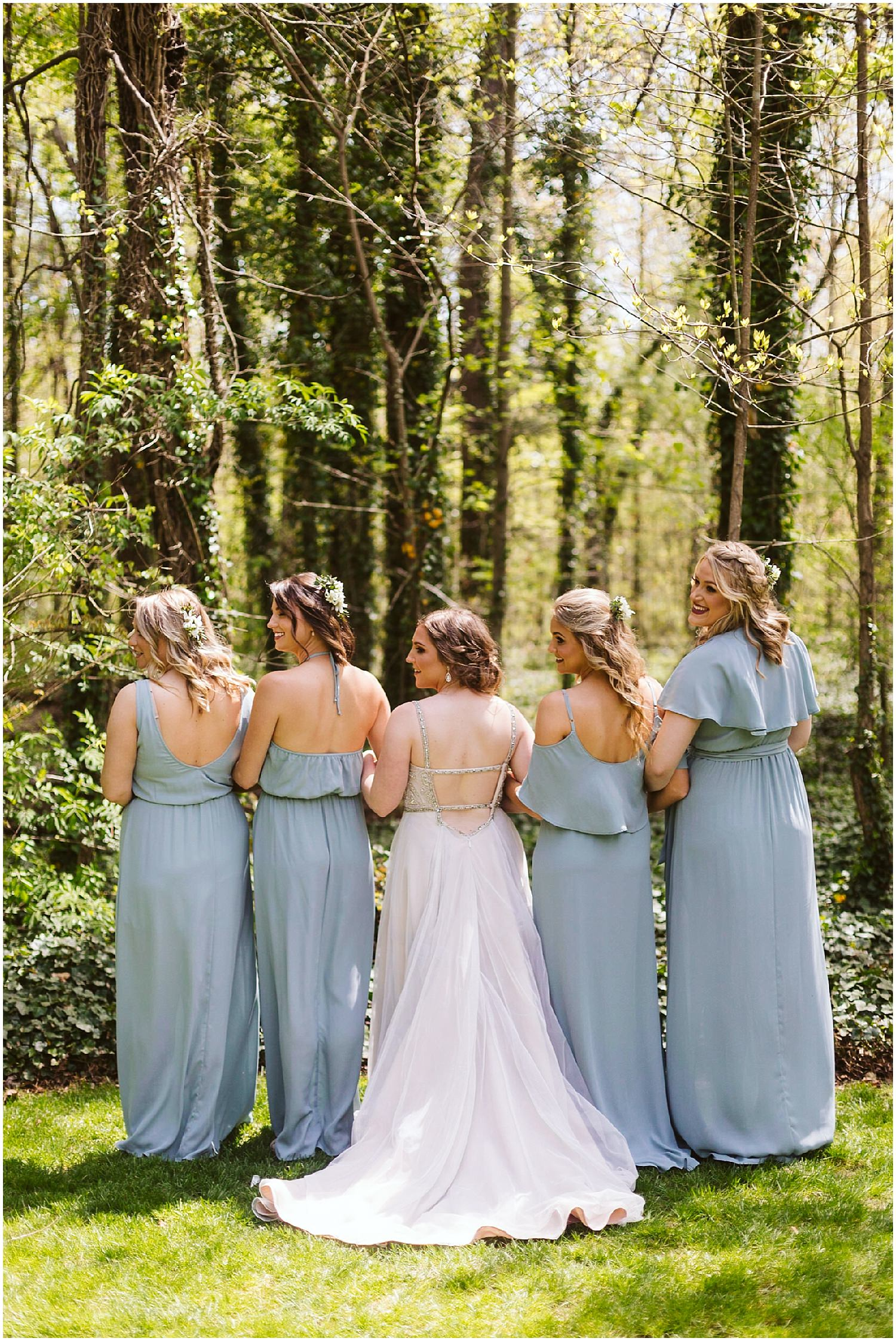 back of bridesmaids' dresses