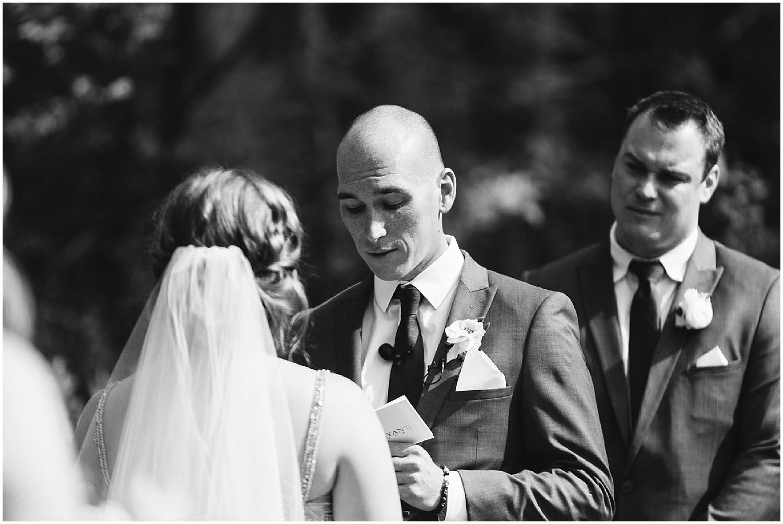 black and white RT lodge wedding ceremony