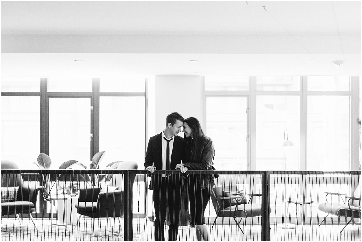 black and white indoor engagement photo