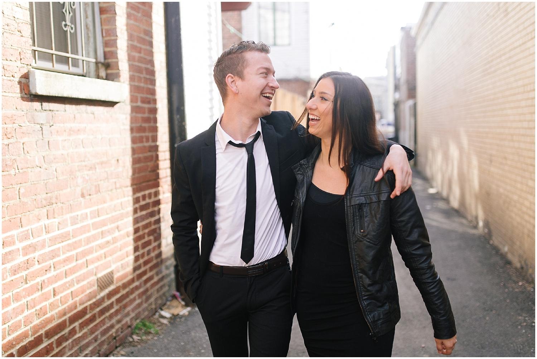 alleyway engagement shoot in washington dc