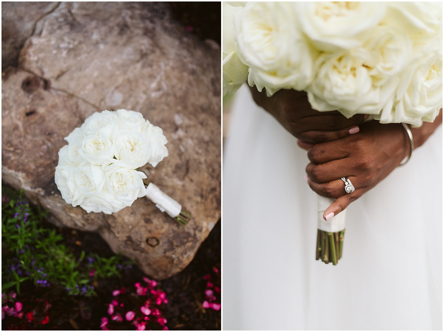 white rose bouquet at chateau elan