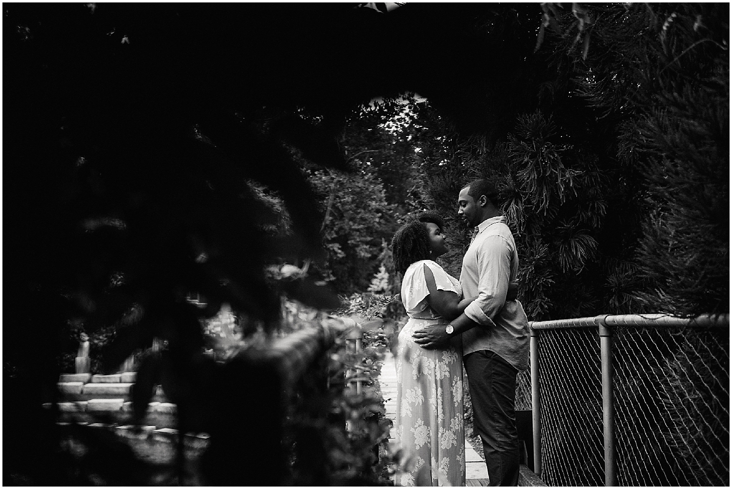 black and white grounds for sculpture engagement shoot