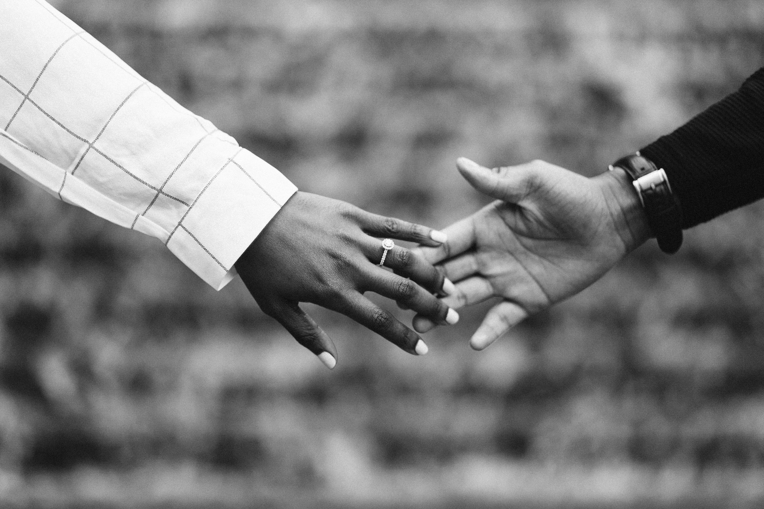 black and white intimate engagement photography
