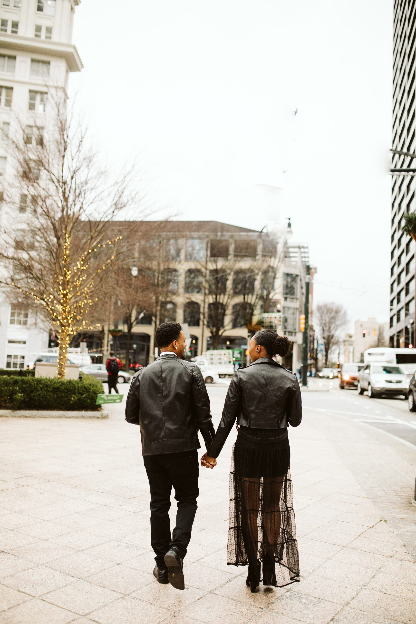 black leather engagement session outfits