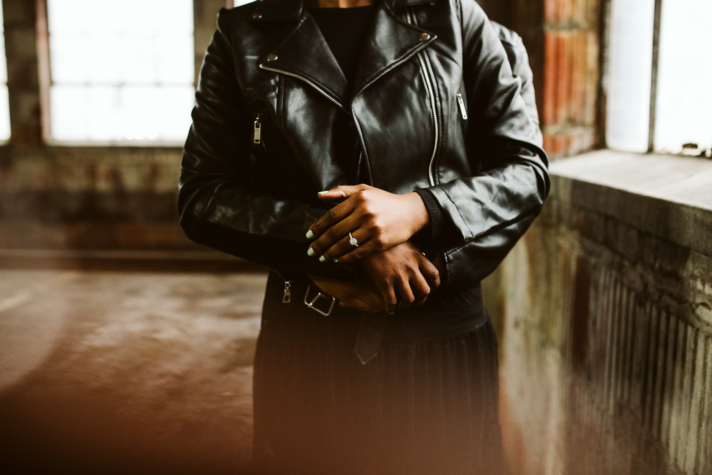 leather engagement session outfits