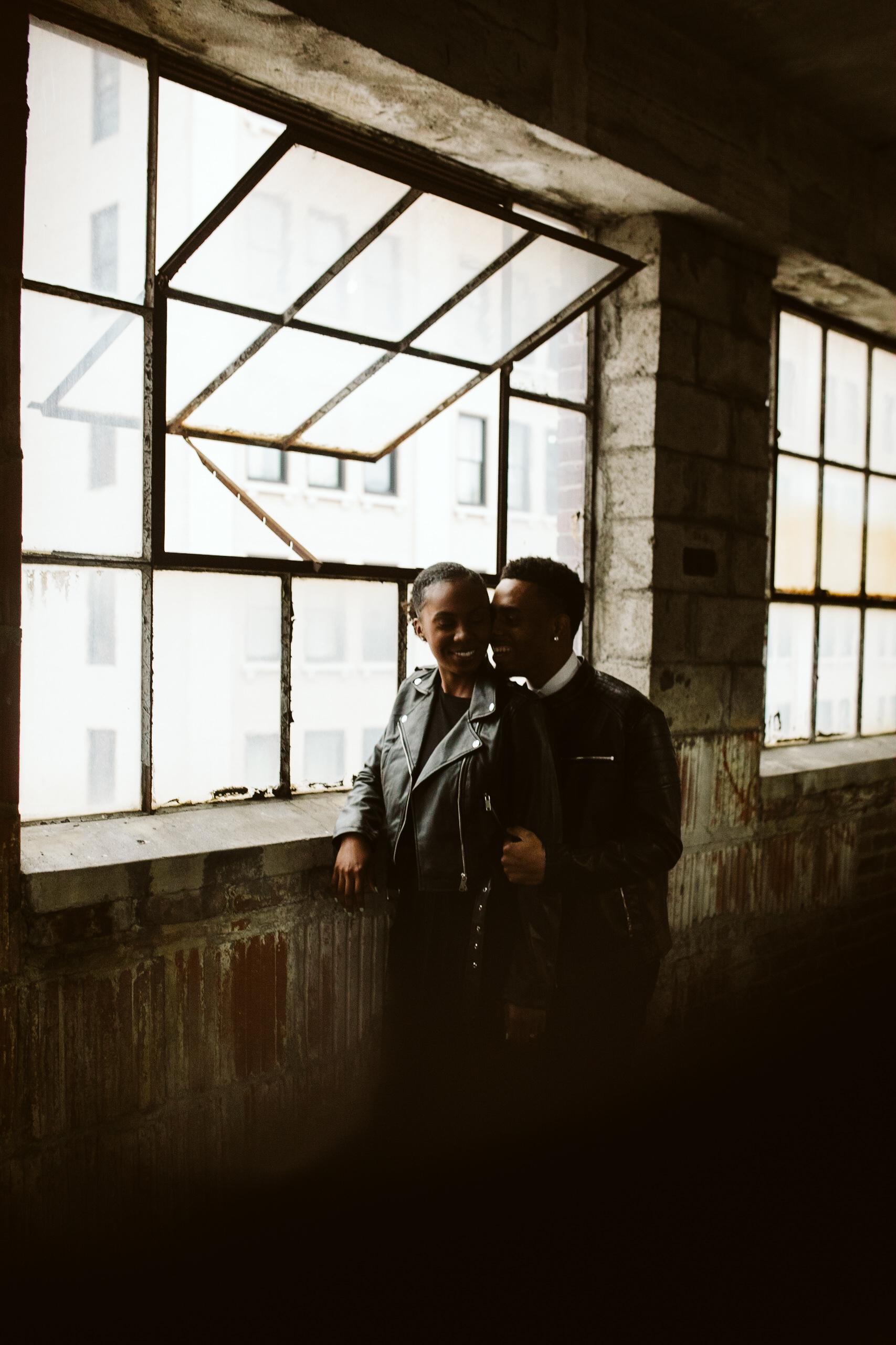 all black engagement shoot downtown atlanta