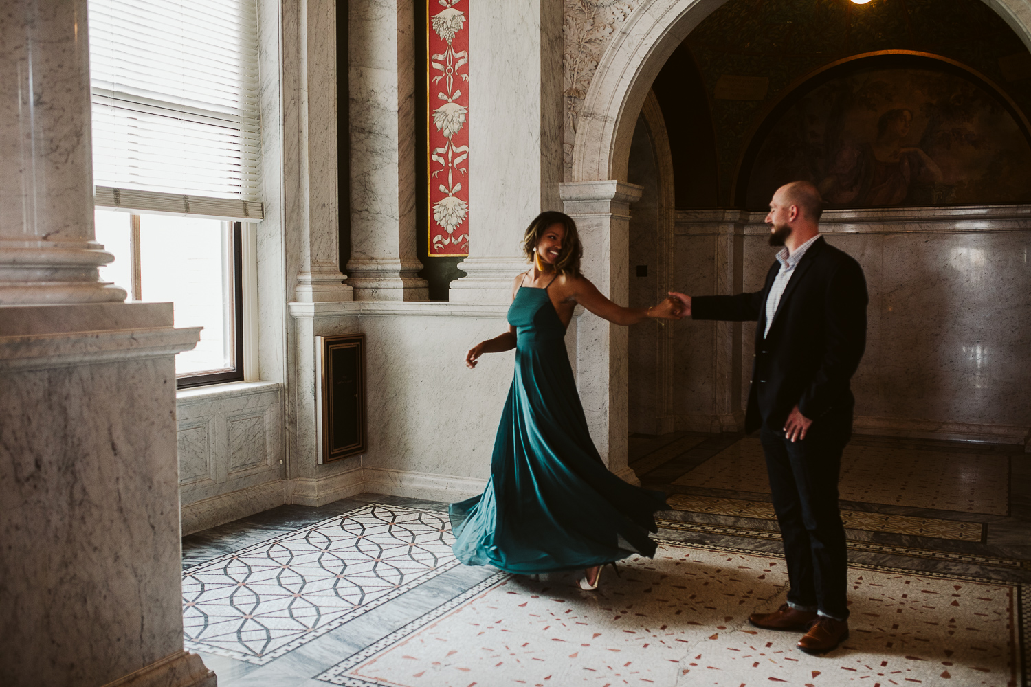 cute couple dancing during washington dc engagement session
