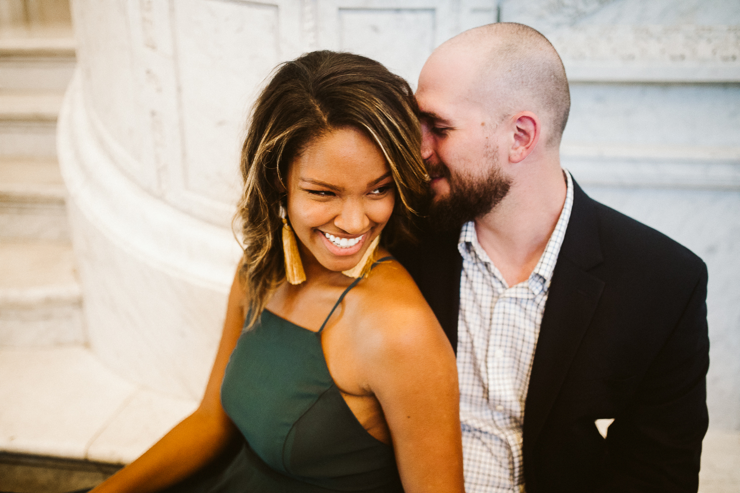 cute biracial couple during washington dc engagement session