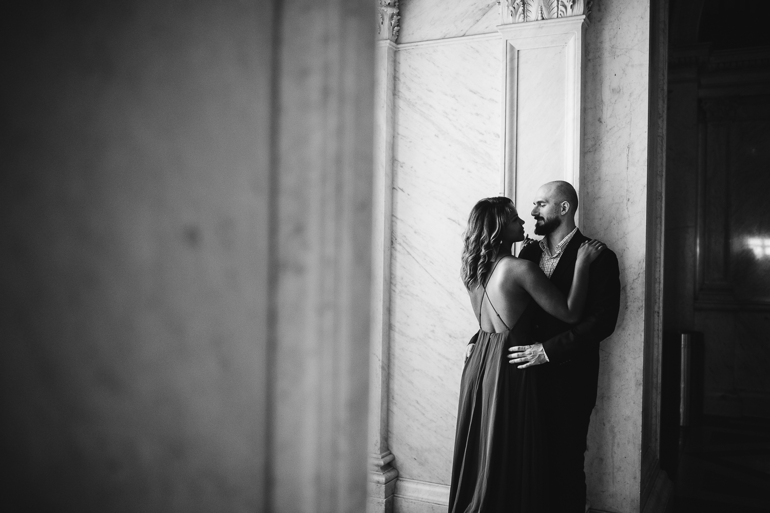 library of congress engagement shoot in black and white