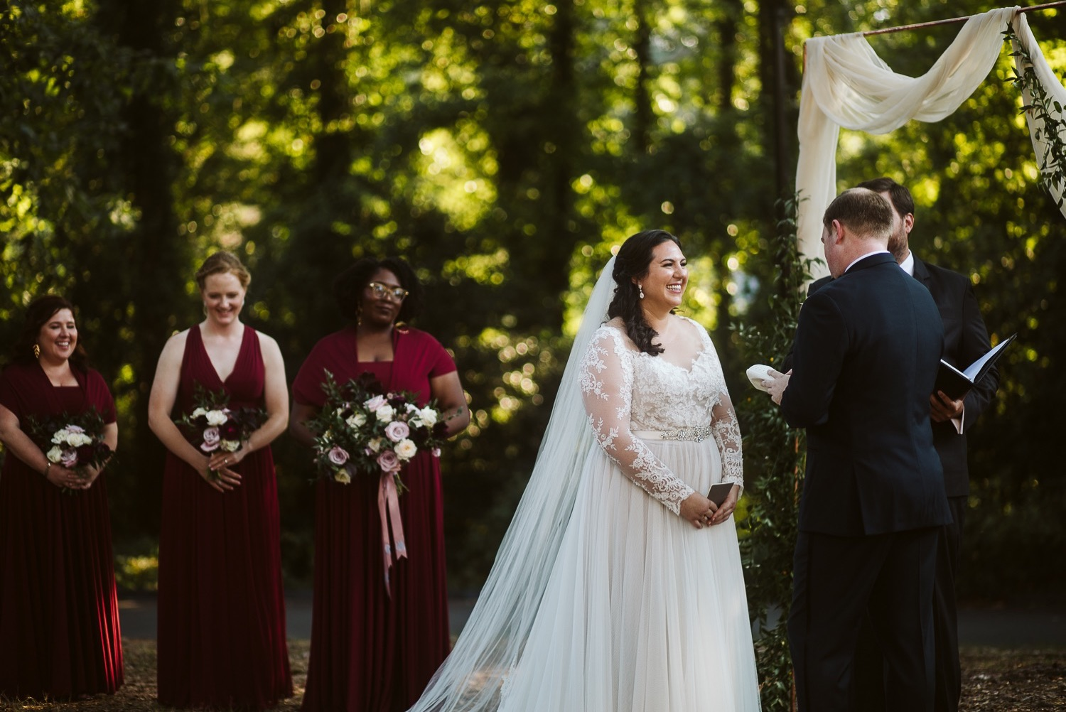 bride during fall wedding ceremony at callanwolde fine arts center