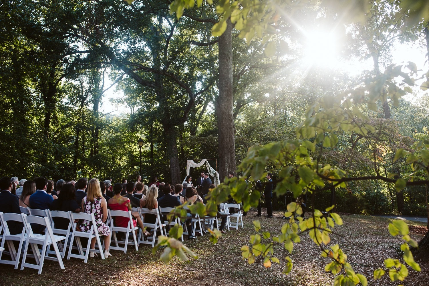 outdoor fall ceremony at callanwolde fine arts center wedding