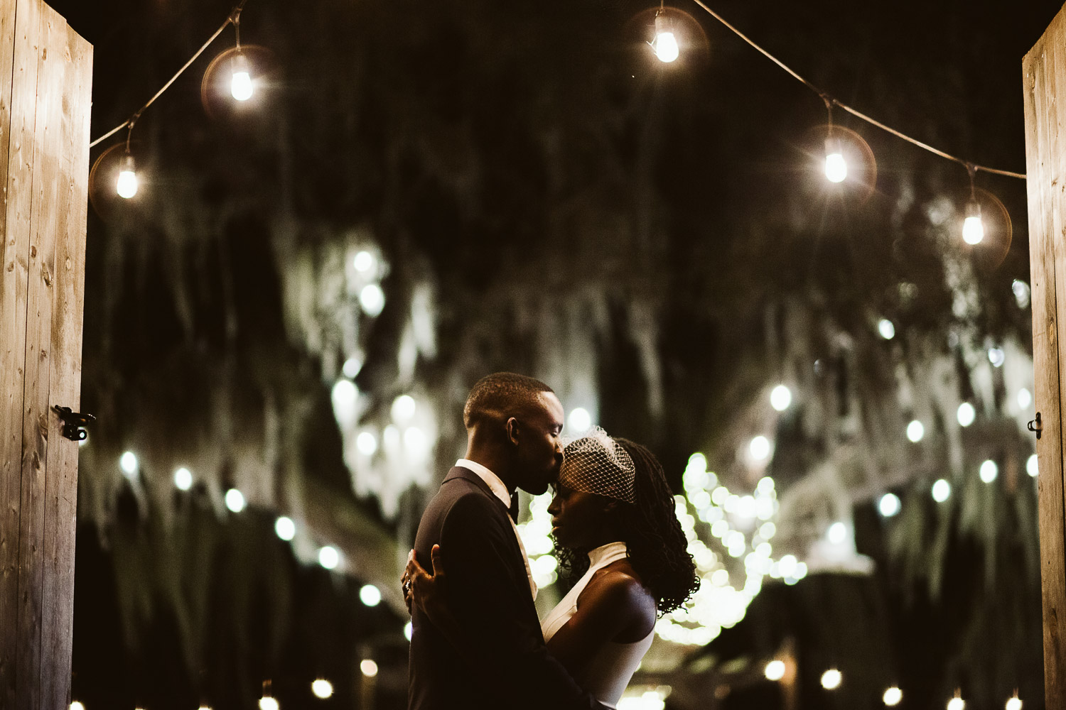 nighttime wedding portrait at ever after farms