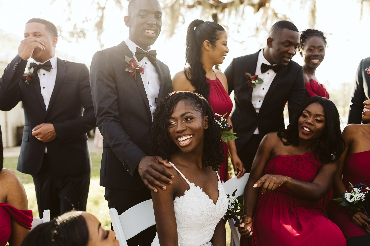 black bridal party wearing red
