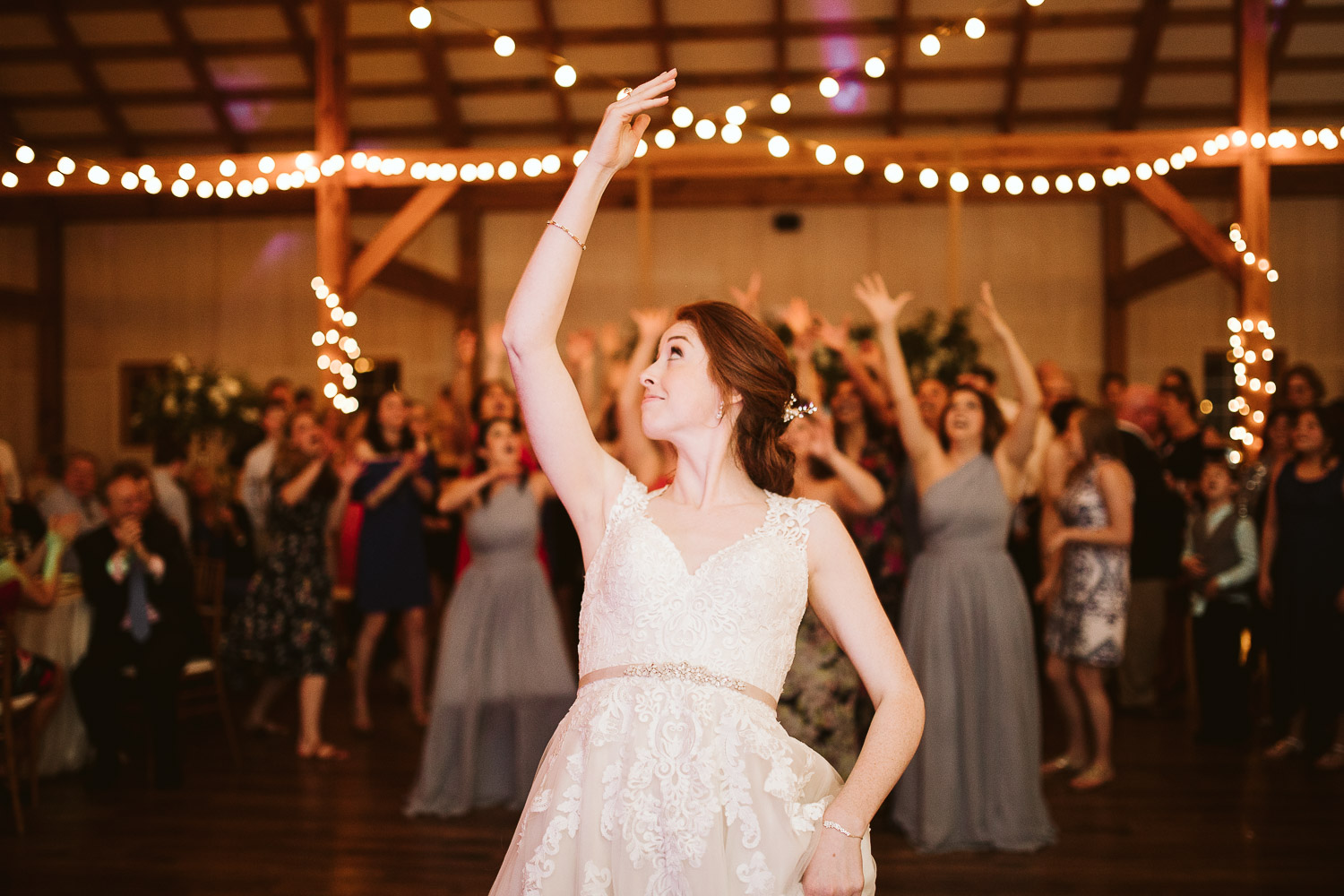 bouquet toss and shadow creek wedding reception