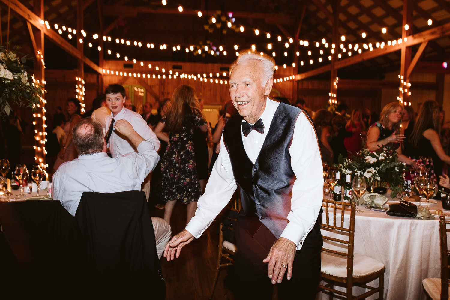 grandpa dancing at wedding reception
