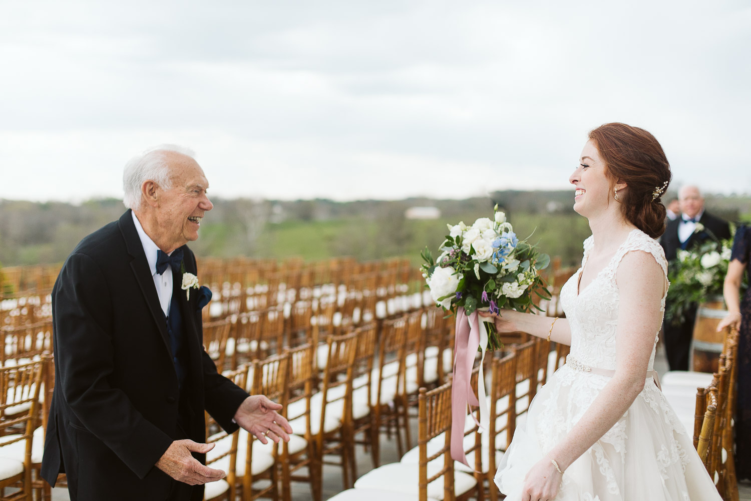 bride and grandfather first look