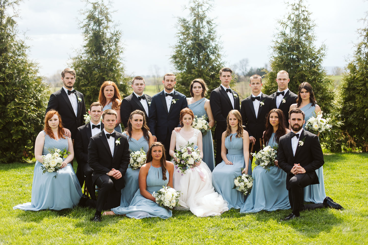 bridal party wearing light blue