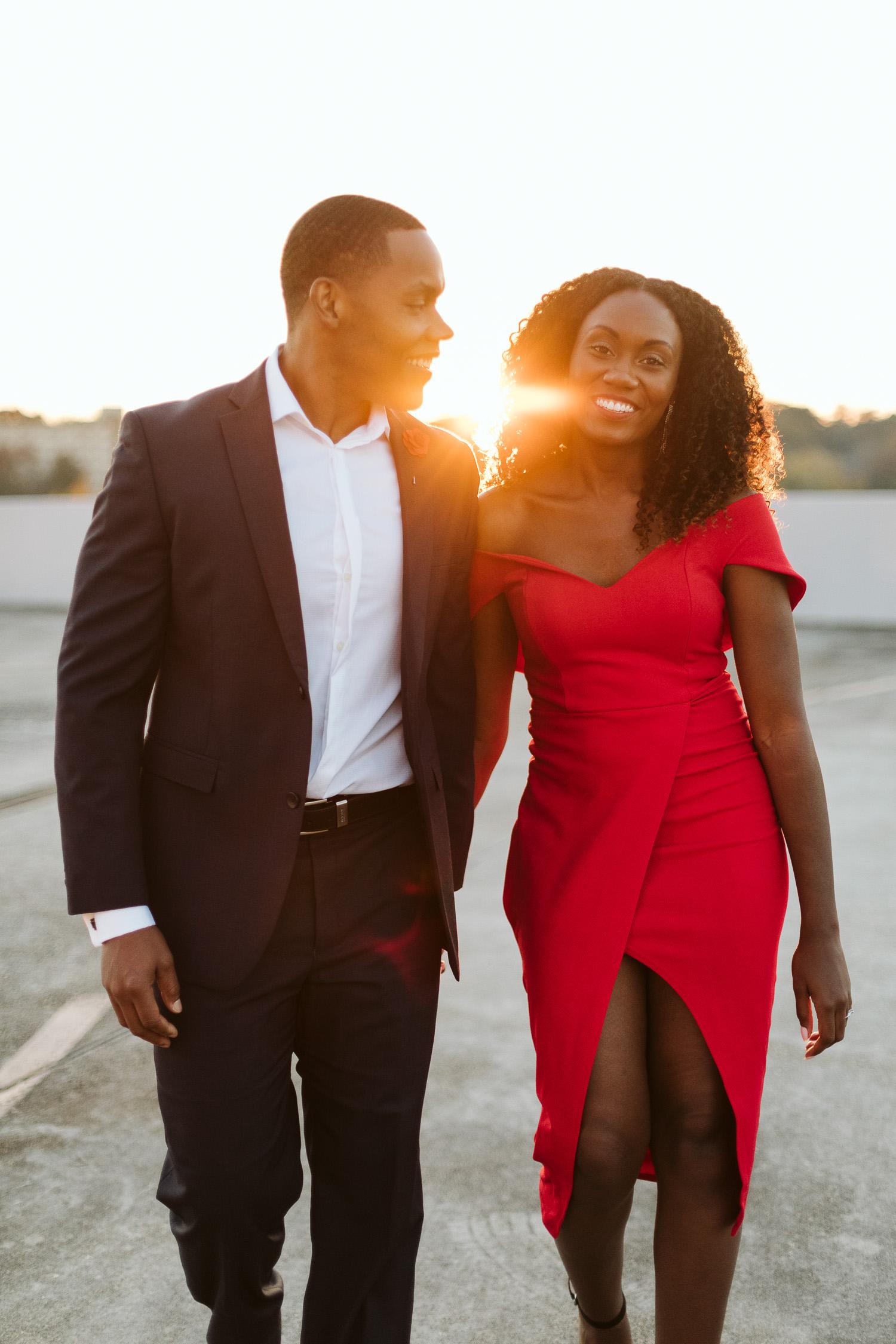 cute stylish black couple during engagement shoot