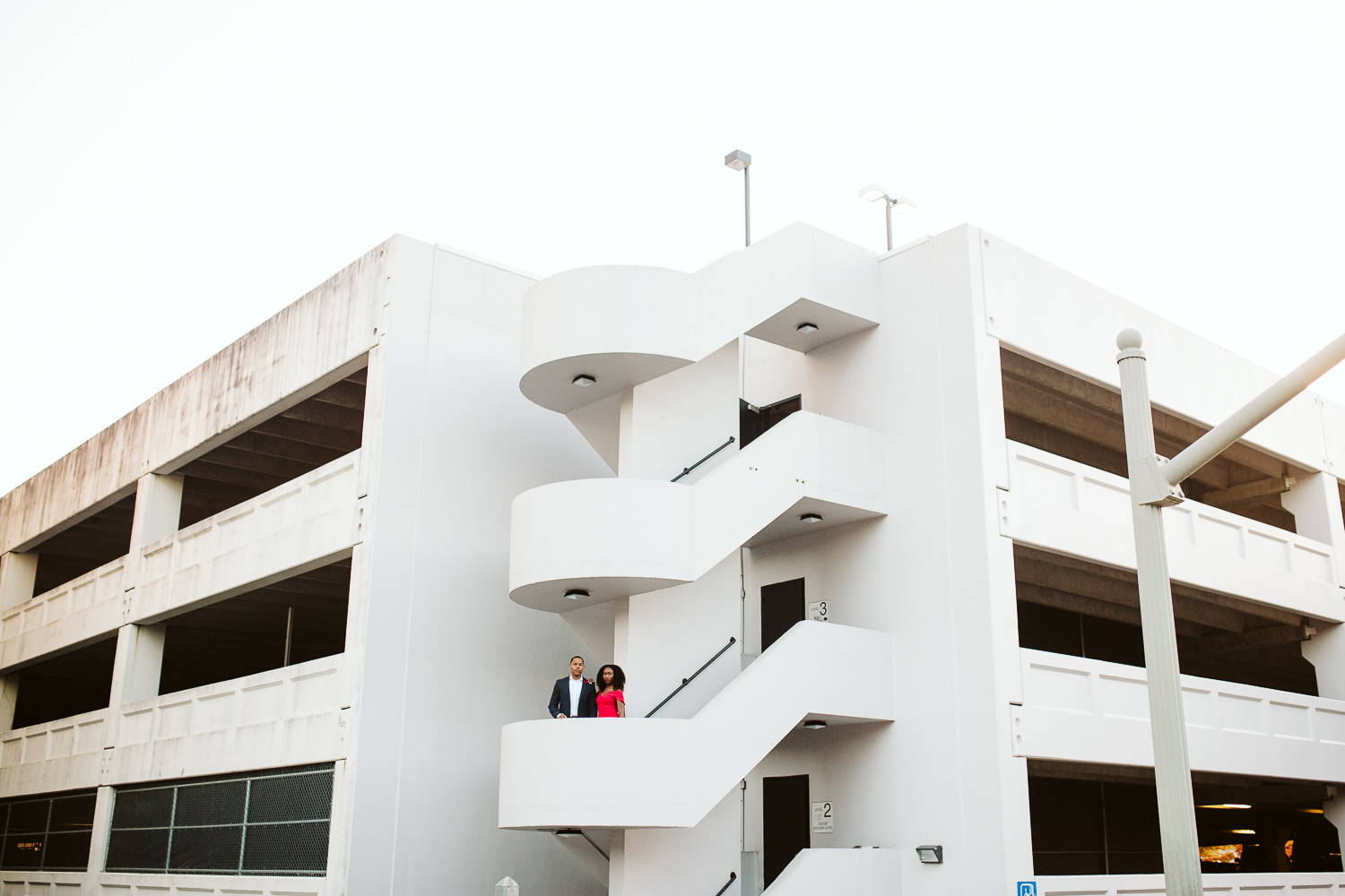 all white parking deck engagement shoot