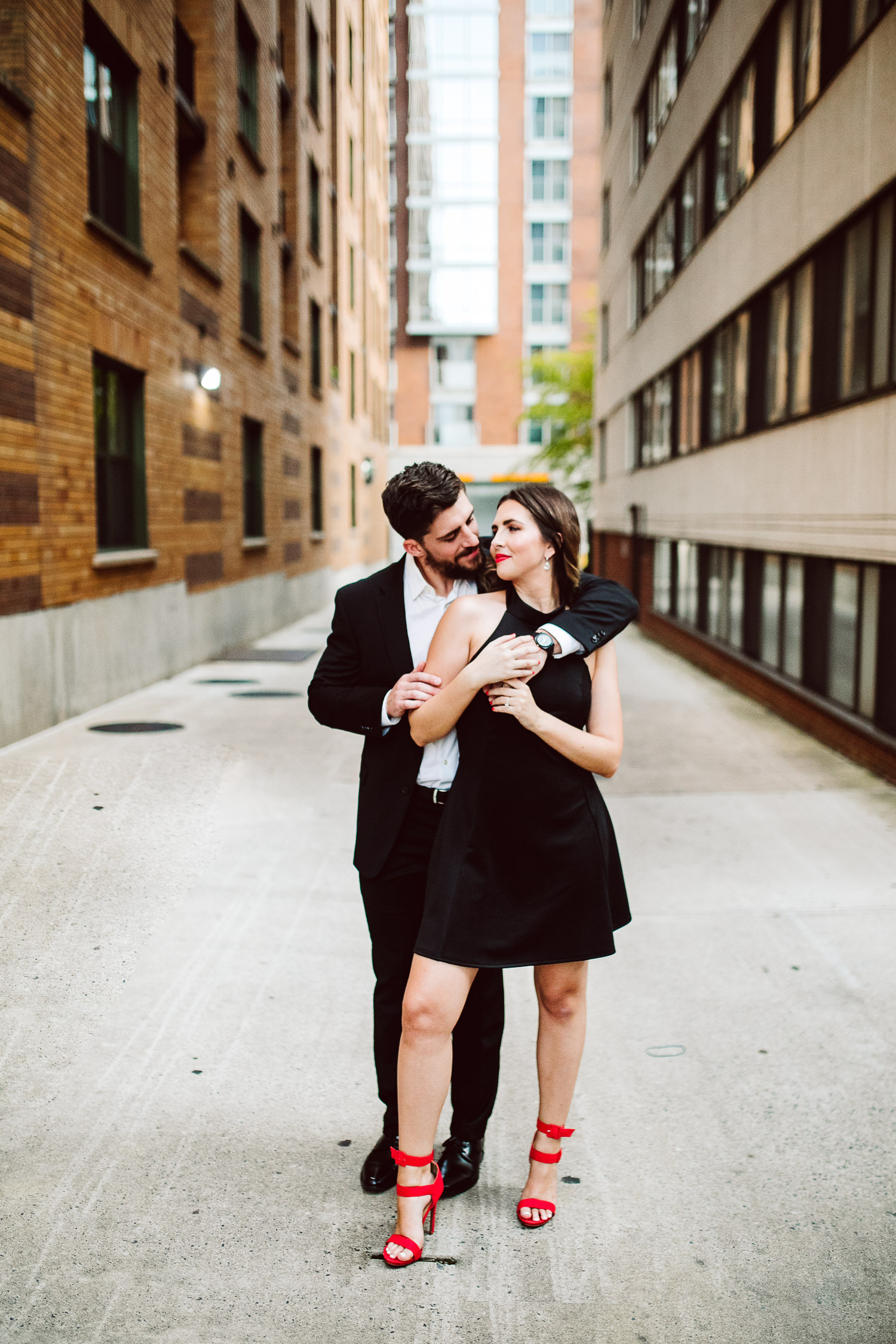 black and red engagement photo outfits