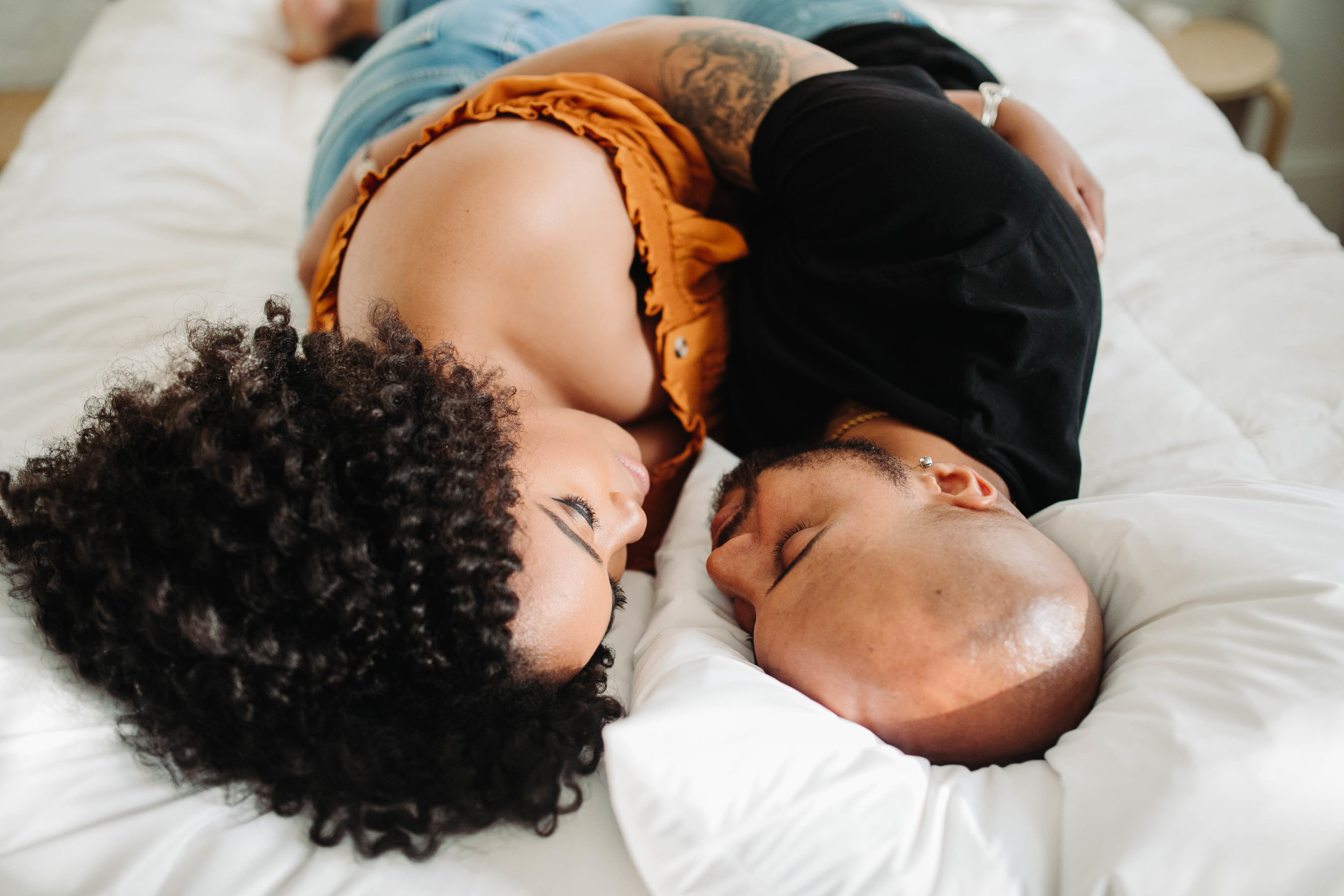 cuddling during airbnb engagement session