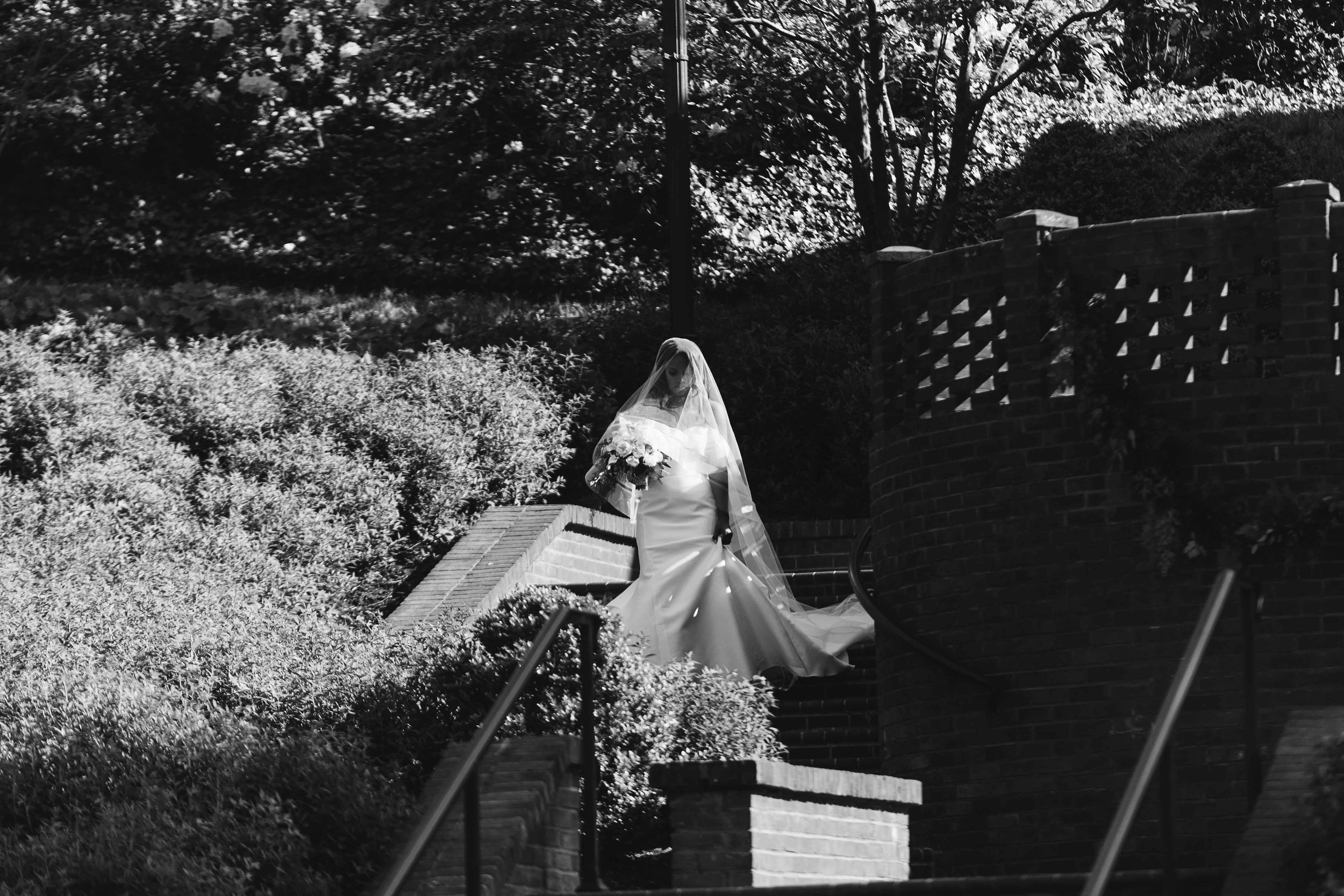 black and white picture of bride entering ceremony