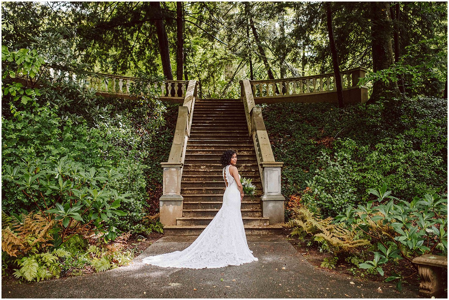 long lace wedding gown at cator woolford gardens