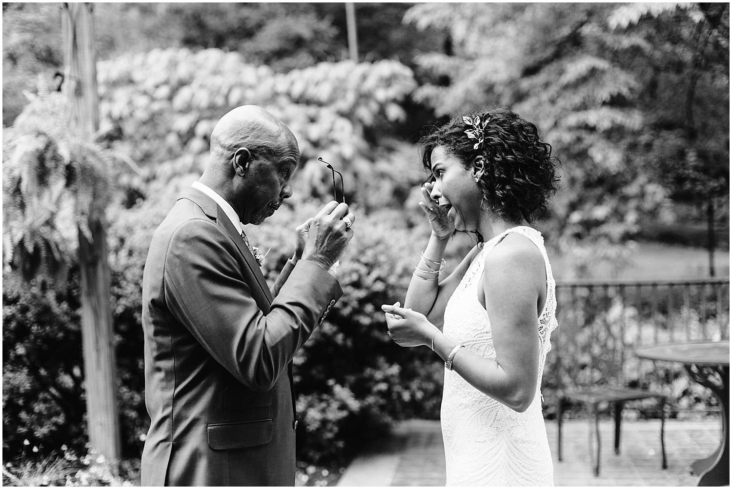 father of bride cries during wedding