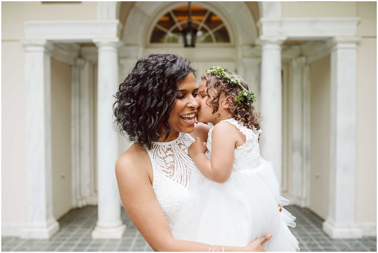 bride and niece on wedding day