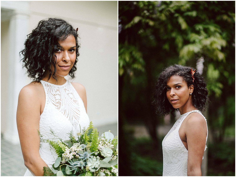 black curly hair bride on wedding day