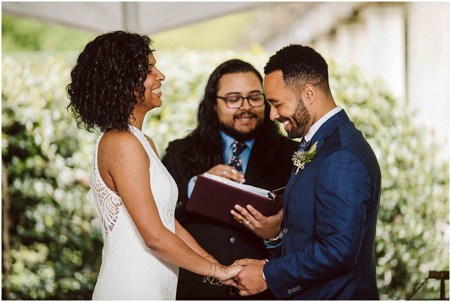 spring wedding ceremony at cator woolford gardens