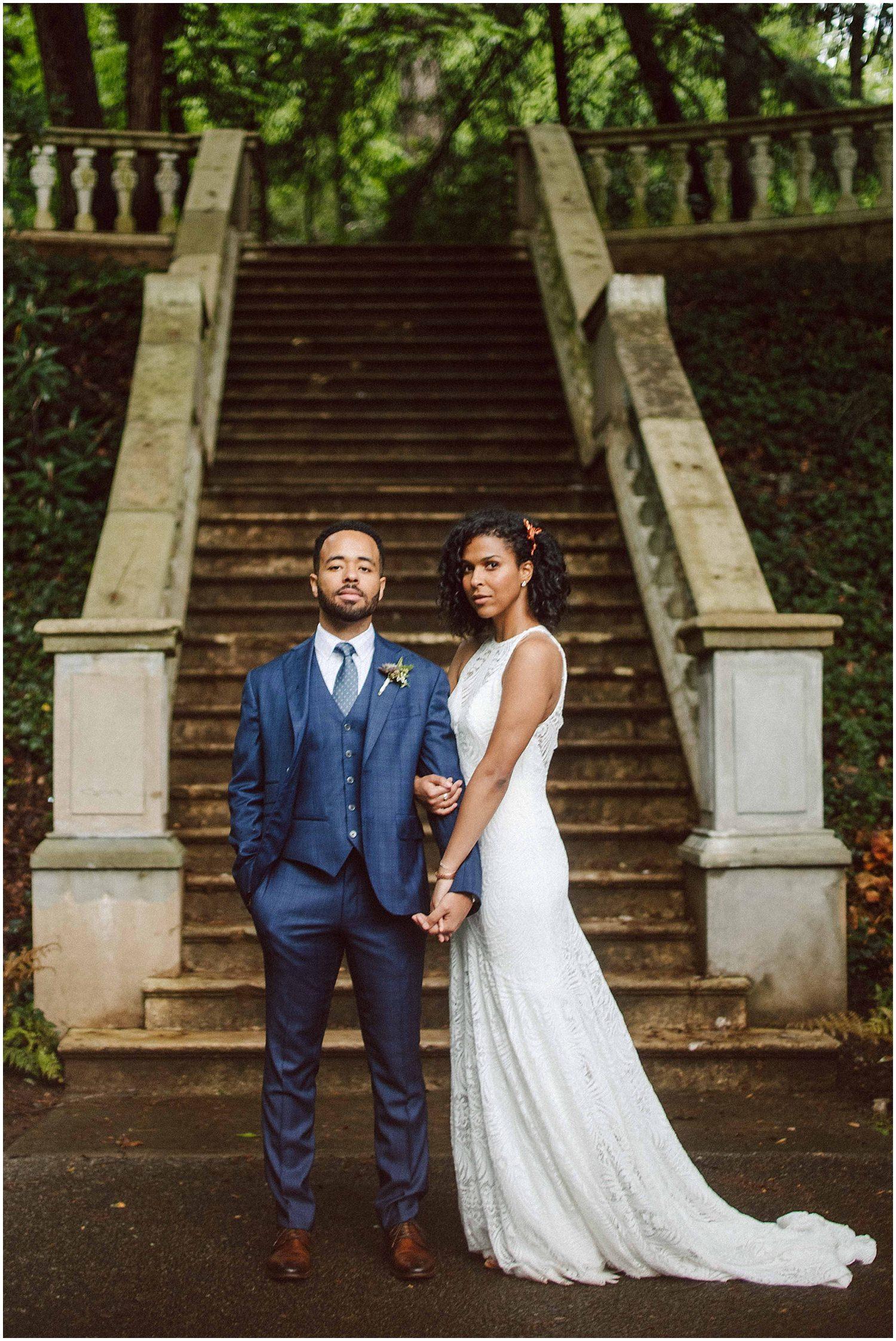 black bride and groom at cator woolford gardens wedding