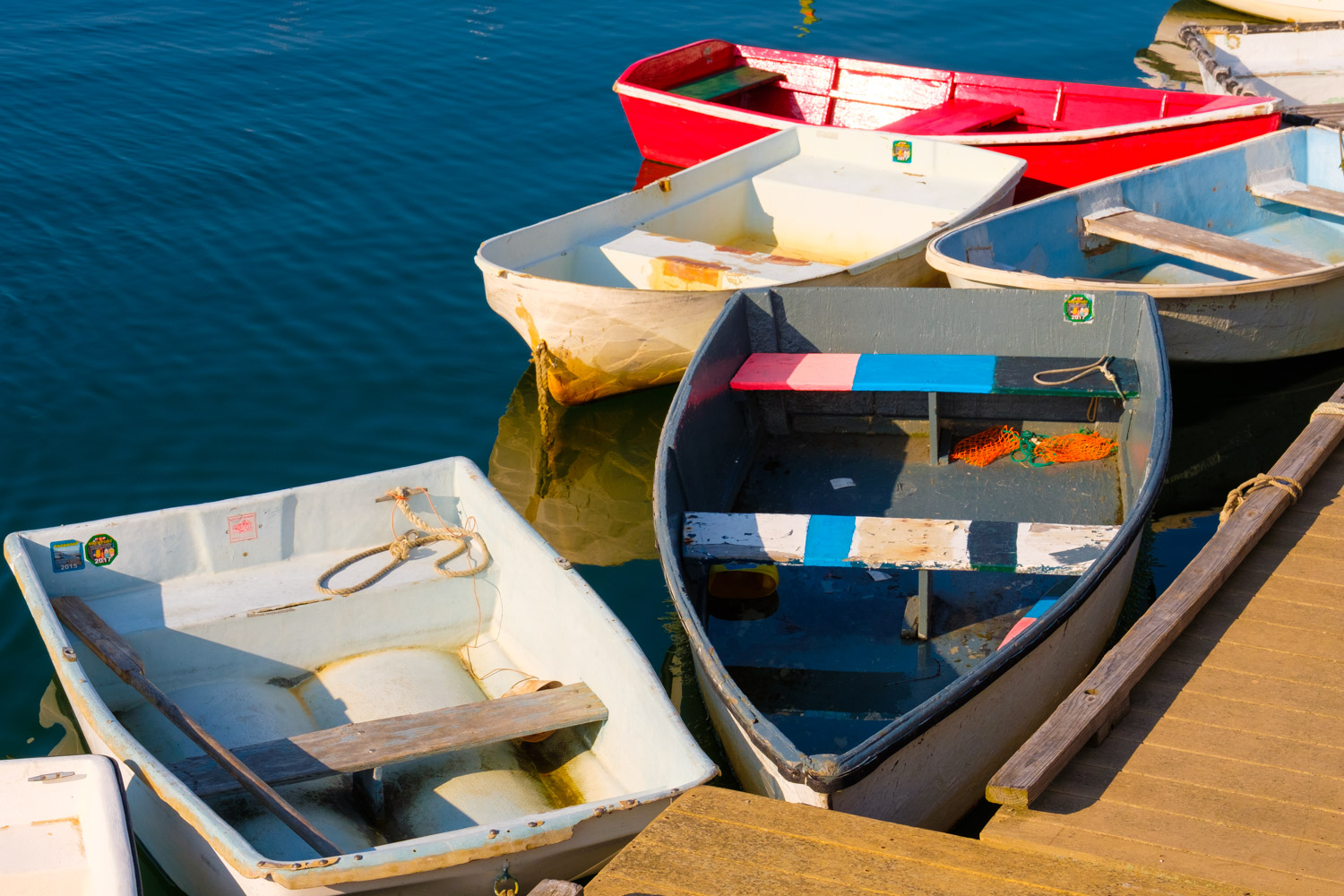 Fishermen's boats on Bradley Wharf in Rockport, Massachusetts.
